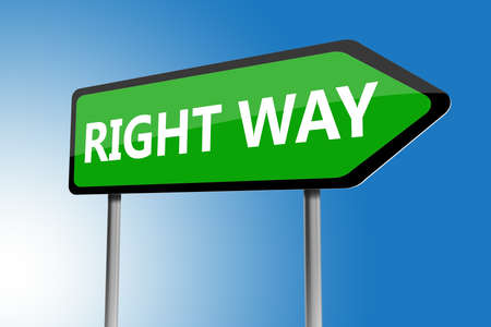 righteous: Illustration of right way directions sign on a blue sky