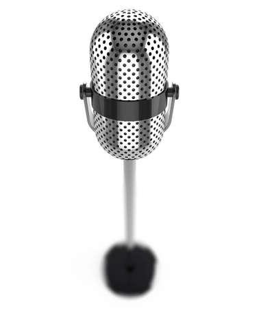 microfono de radio: Micrófono Vintage aislado en un fondo blanco