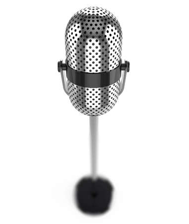 internships: Vintage microphone isolated on a white background