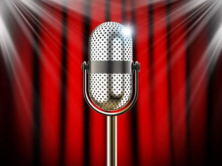 internships: Vintage microphone against red curtain with spotlights