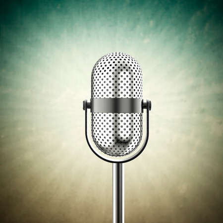 commentator: Vintage microphone isolated on a green background