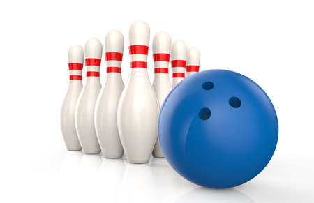blue ball: Bowling skittles and blue ball isolated on a white background
