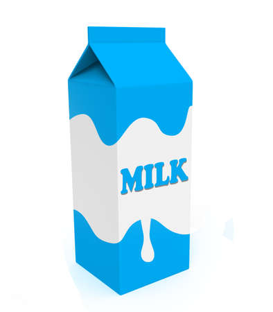 Caja de cartón de leche azul y blanco aislado en un fondo blanco Foto de archivo - 45814472