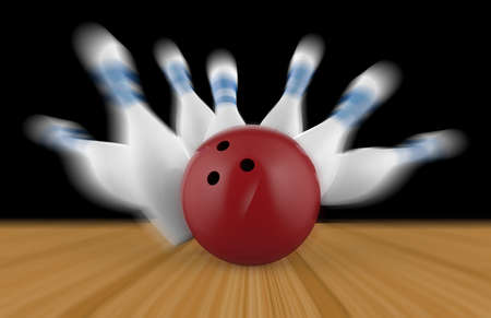 Scattered skittle and bowling ball on a wooden floor Stock Photo