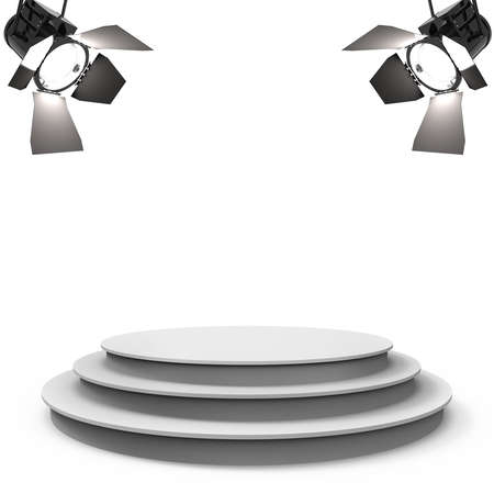 White empty stage with two spotlights isolated on a white background