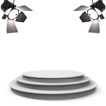 Weiße leere Bühne mit zwei Scheinwerfer auf einem weißen Hintergrund Standard-Bild - 45814482