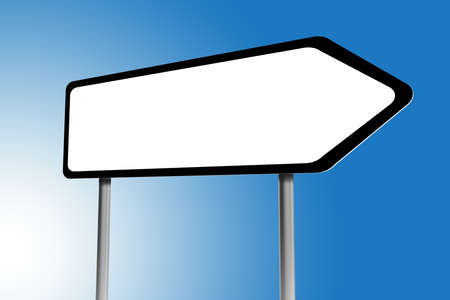 arrow sign: Illustration of blank directions sign on a blue sky Stock Photo