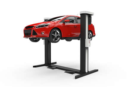 Car lifting isolated on a white background Foto de archivo