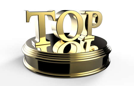 gold top: Gold TOP on podium isolated on a white background