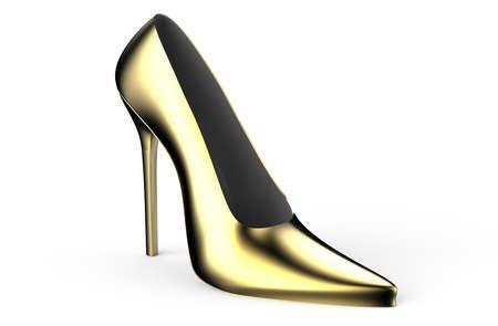 elegant girl: Gold women high heel shoe isolated on white background Stock Photo