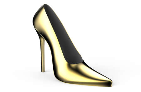 pies bonitos: las mujeres de oro del zapato de tac�n alto aislados en el fondo blanco