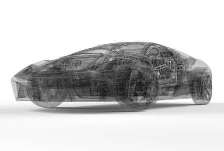 rendering: Front of wireframe car isolated on a white background Stock Photo
