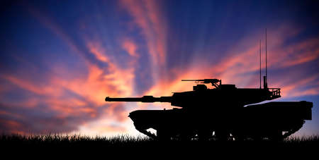 iraq war: Modern heavy tank isolated in front a sunset Stock Photo