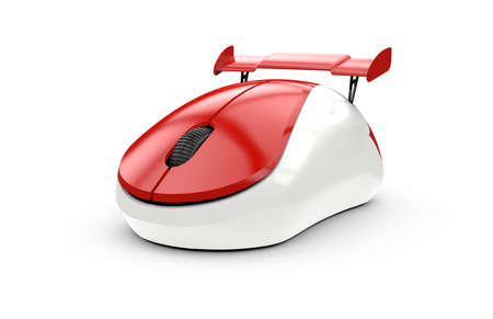 metaphor: High speed computer mouse isolated on a white background