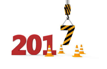 construction signs: 2017 new year in progress isolated on a white background
