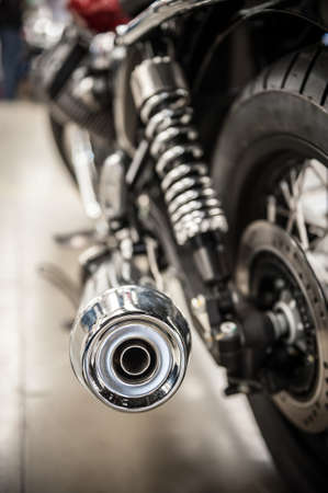 exhaust pipe: Chrome exhaust pipe of a beautiful motorcycle Stock Photo