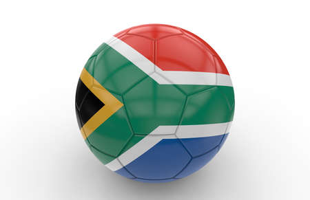 south africa flag: Soccer ball with south africa flag isolated on white background