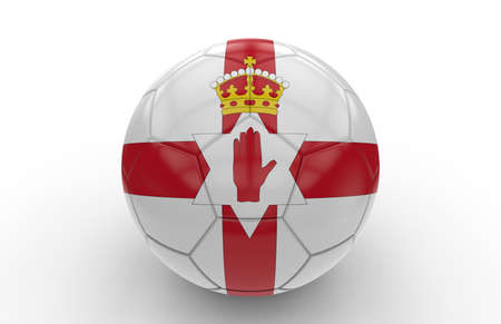 northern: Soccer ball with northern ireland flag isolated on white background Stock Photo