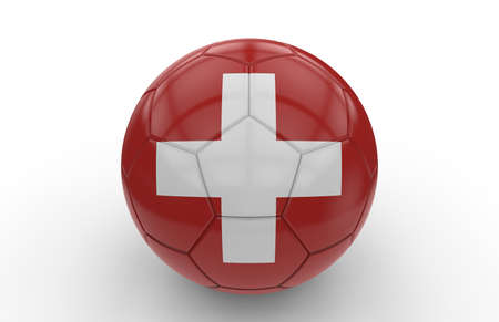swiss flag: Soccer ball with swiss flag isolated on white background Stock Photo