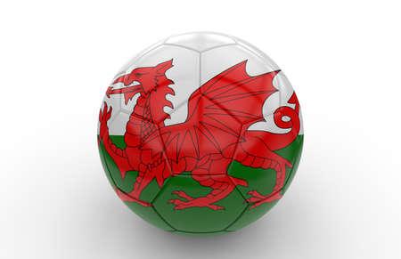 welsh flag: Pallone da calcio con la bandiera gallese isolato su sfondo bianco
