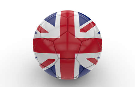team game: Soccer ball with united kingdom flag isolated on white background Stock Photo