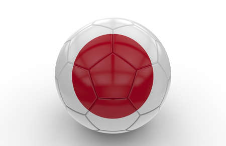 japanese flag: Soccer ball with japanese flag isolated on white background Stock Photo