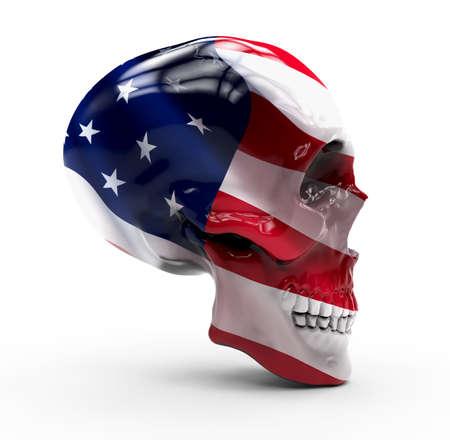 historic world event: Skull isolated with America flag painted on it