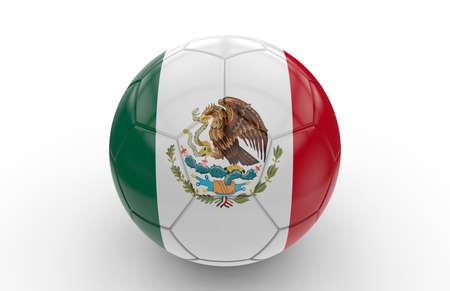 drapeau mexicain: Soccer ball avec le drapeau mexicain isolé sur fond blanc Banque d'images