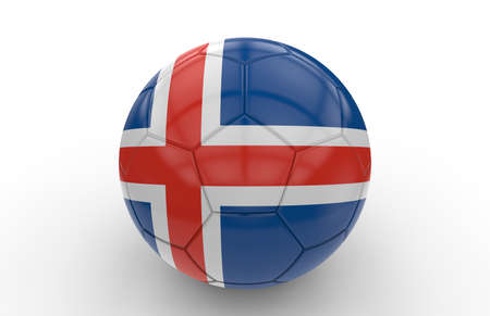 national: Soccer ball with icelandic flag isolated on white background