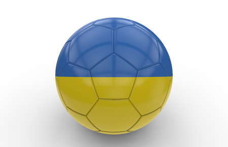 ukrainian flag: Soccer ball with ukrainian flag isolated on white background