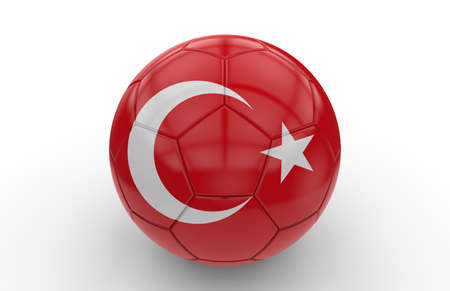 turkish flag: Soccer ball with turkish flag isolated on white background
