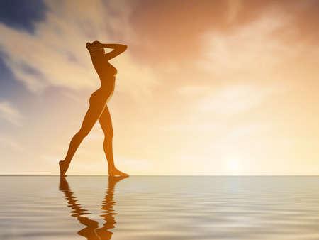cuerpo femenino: Silueta joven mujer practicando yoga en la playa al atardecer Foto de archivo