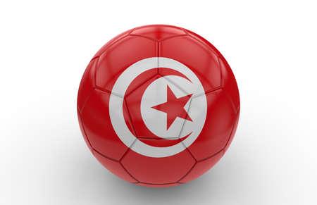 banderas del mundo: Balón de fútbol con la bandera de Túnez aislado en el fondo blanco; Las 3D