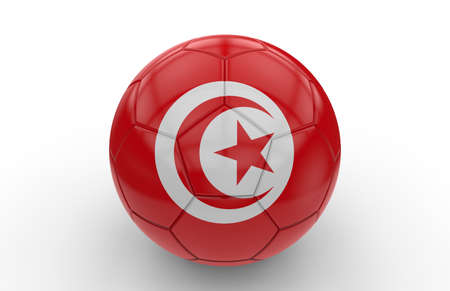world cup: Soccer ball with Tunisia flag isolated on white background; 3d rendering