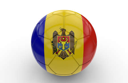football team: Soccer ball with Moldavia flag isolated on white background; 3d rendering