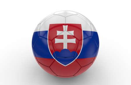 slovakian: Soccer ball with slovakian flag isolated on white background Stock Photo
