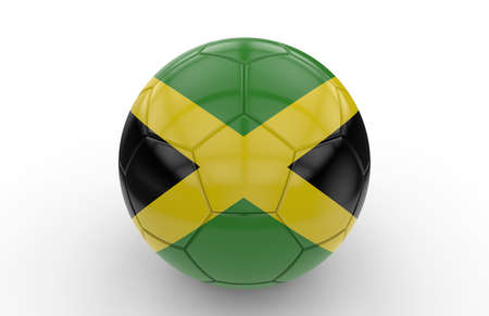 jamaican flag: Soccer ball with jamaican flag isolated on white background