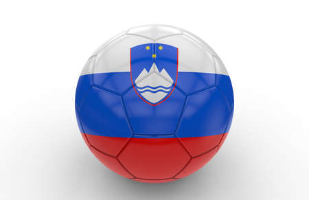 slovenia: Soccer ball with Slovenia flag isolated on white background; 3d rendering