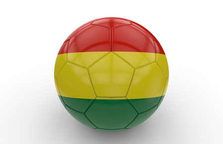 bandera de bolivia: Bal�n de f�tbol con la bandera de Bolivia aislada en el fondo blanco; Las 3D