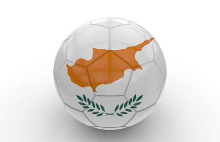 soccer team: Soccer ball with Cyprus flag isolated on white background; 3d rendering