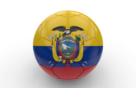 ecuador: Soccer ball with Ecuador flag isolated on white background; 3d rendering Stock Photo