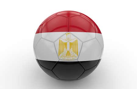 bandera de egipto: Balón de fútbol con la bandera de Egipto aislado en el fondo blanco; Las 3D