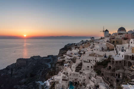 grecian: Sunset over Oia village in Santorini - Greece