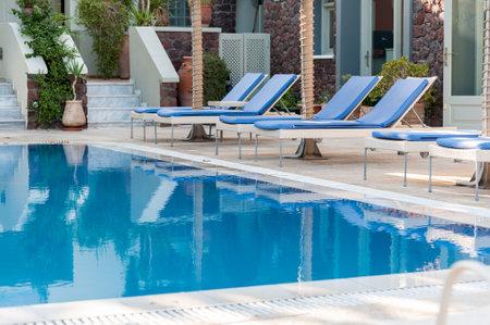 Beautiful pool in an hotel in Santorini - Greece