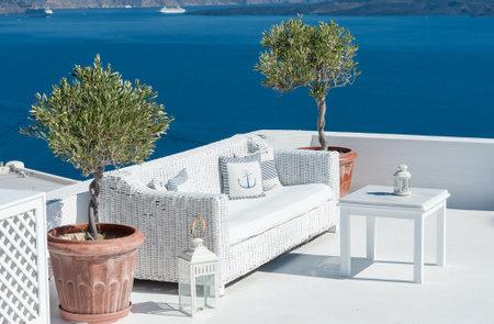 Beautiful terrace over Santorini with sea view - Greece Editorial