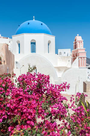Flowers in front of an orthodox church in Santorini - Greece Stock Photo