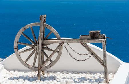 woden: Woden tool on a terrace in Santorini - Greece Stock Photo