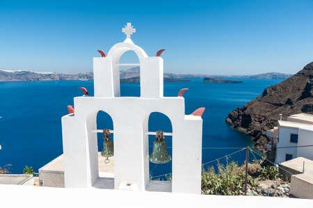 santorini greece: White bell tower in Thirasia - Santorini - Greece