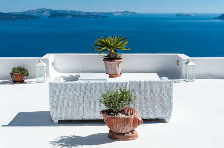 Beautiful terrace over Santorini island - Greece Imagens