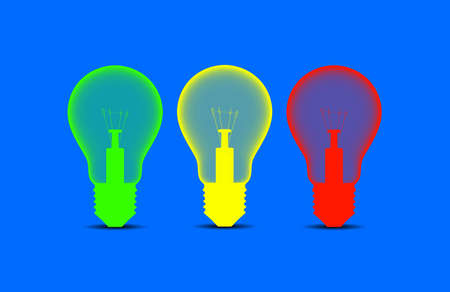translucent: Colorful light bulbs on a blue background
